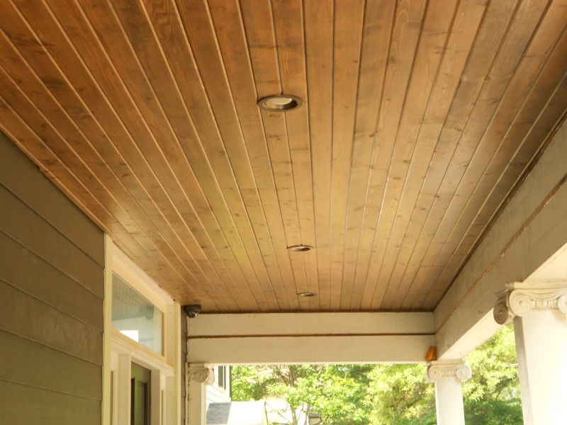 Pine Car Siding Stained Porch Ceiling Porch Wood