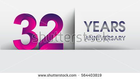 thirty two years Anniversary celebration logo, flat design isolated on white background, vector elements for banner, invitation card for 32nd birthday party