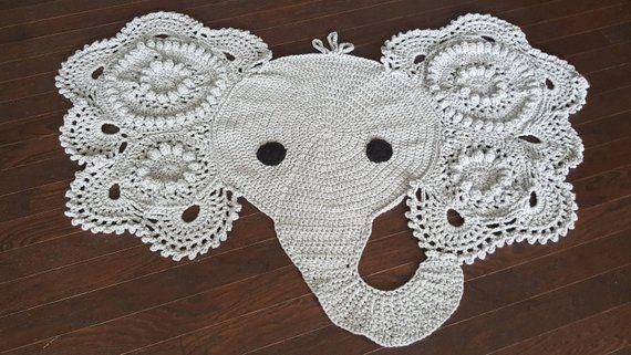 Crochet Elephant Crochet Elephant Rug Elephant Play Mat Nursery Rug Handmade Crochet Baby Shower Gift Gender Netural Baby Decor Crochet Elephant Nursery Rugs Crochet