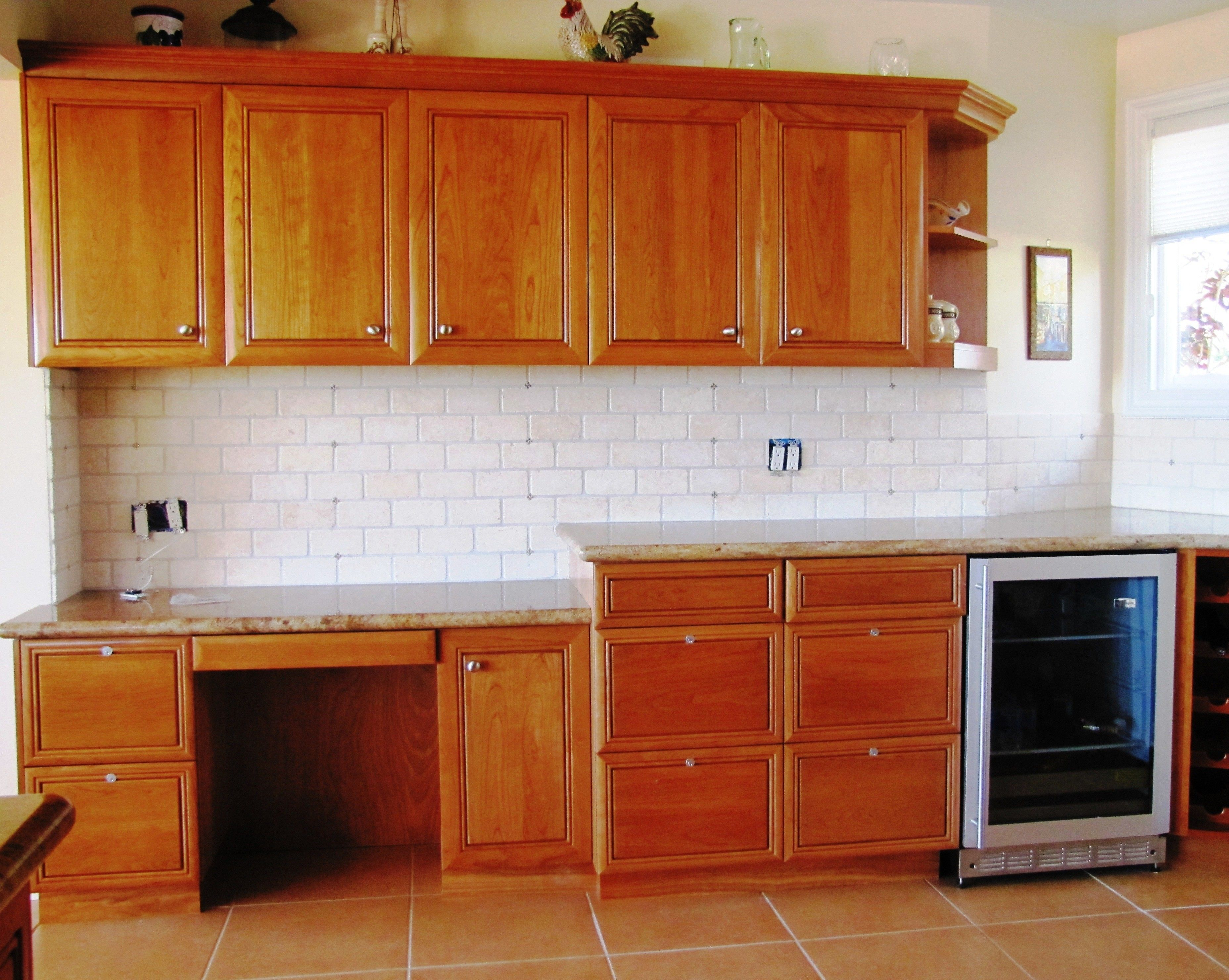 Subway Tile Backsplash Kitchen With Medium Wood Cabinets Google