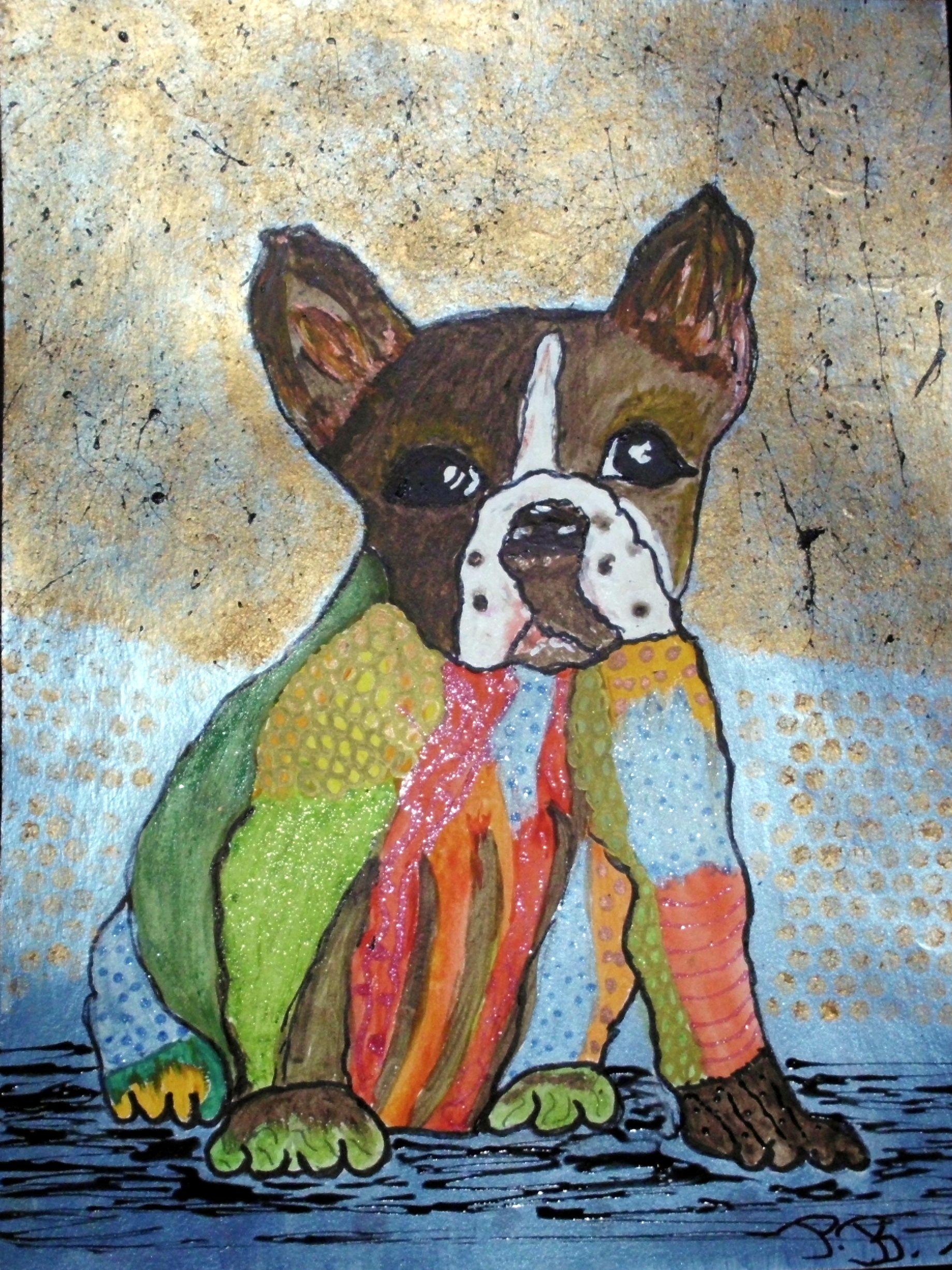 Aquarell mit Tusche Hundemotiv im Internet gefunden