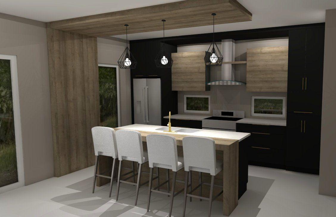 Panneau Melamine Noir Mat voici un plan 3d d'une cuisine en polymère noir mat et