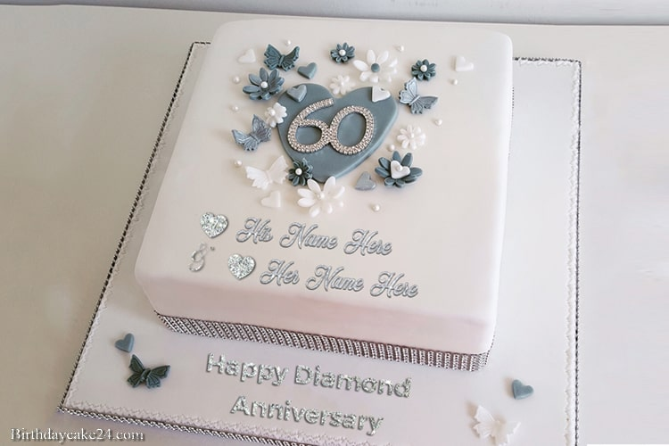 Happy 60th Wedding Anniversary Cake With Name Free Download 60 Wedding Anniversary Cake 60 Wedding Anniversary Anniversary Cake With Name