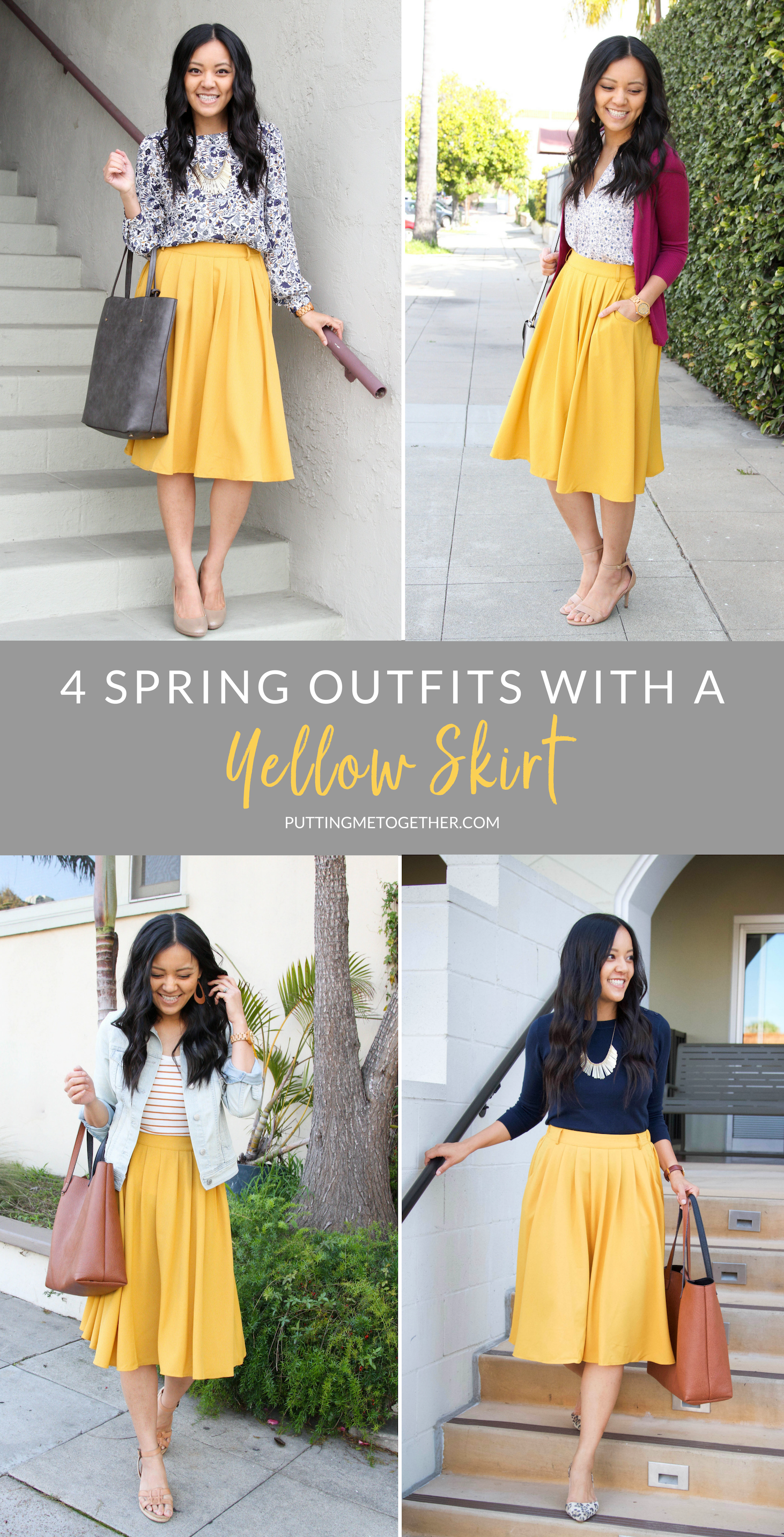 Four Ways to Wear a Yellow Skirt for Spring + Yellow Skirt Options