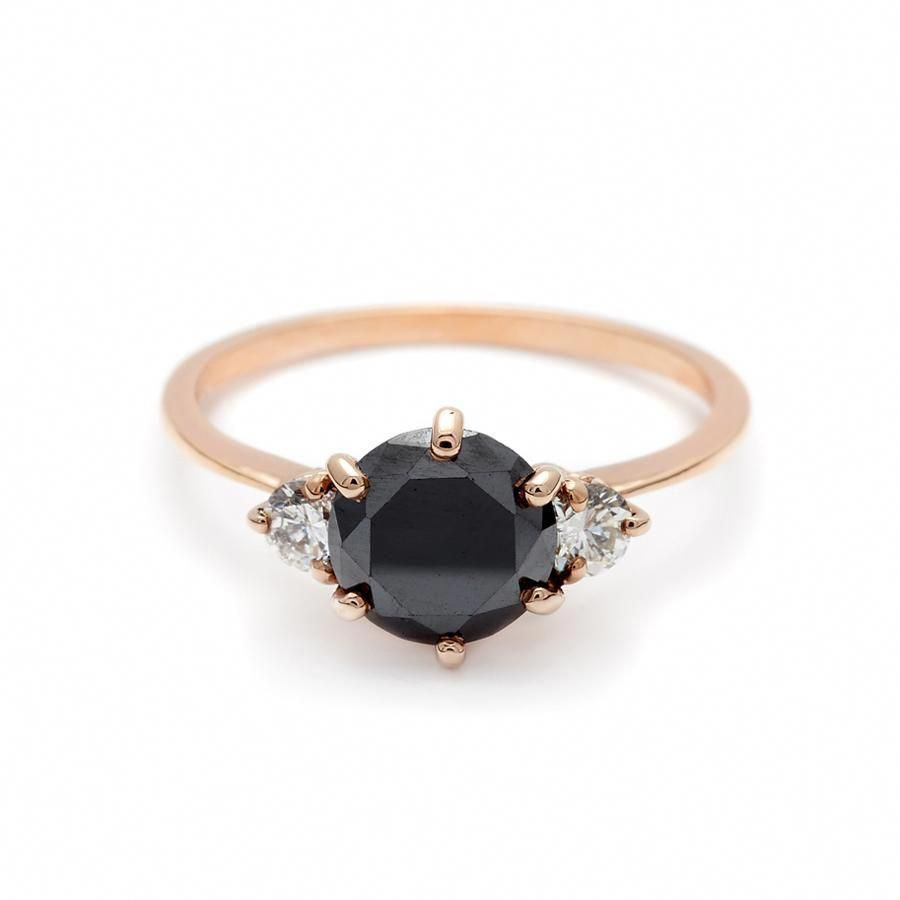 stone hazeline black diamond engagement k gold ring unique
