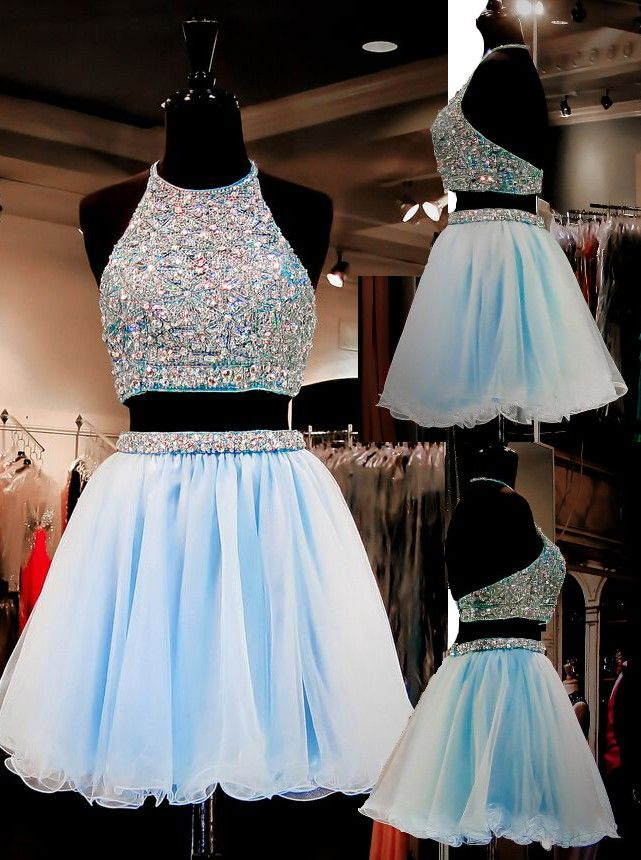 175ac33125fd Two Piece Homecoming Dresses,Tulle Homecoming Dress,2 Pieces Prom Dress,Light  Sky Blue Cocktail Dresses,Sweet 16 Gowns