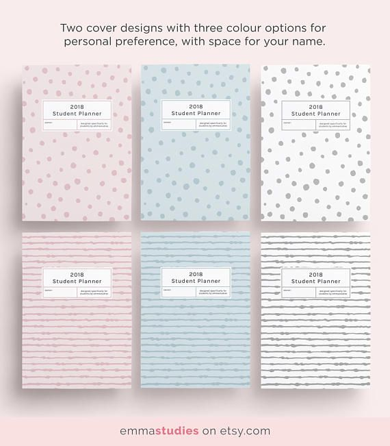 2018 Student Planner Printable Pack in a4, a5 and letter by - sample student agenda