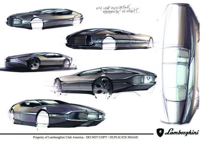 Lamborghini Espada Concept Sketches Classic Redesign Concepts