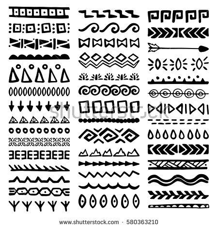 Collection of Hand Drawn Borders in Ethnic Style. Aztec art dividers ...