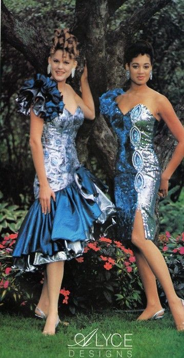 80s fashion, 80s prom dress