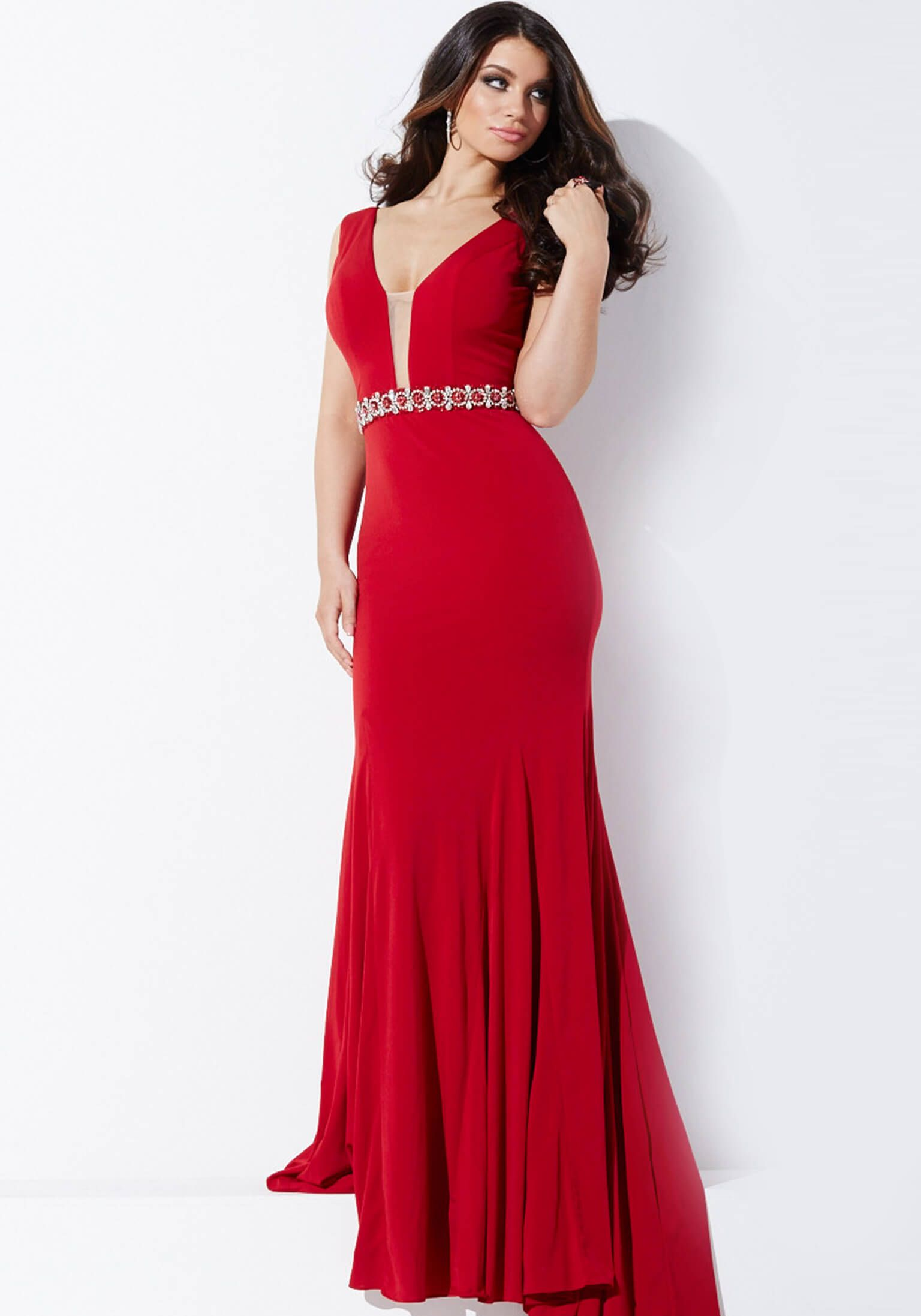 Jovani red sheer lace dress