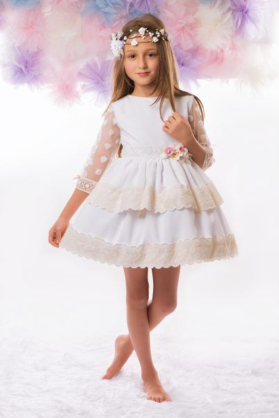ab29200579e9 Abigail, espectacular vestido blanco para niña fiesta, cuerpo en ...