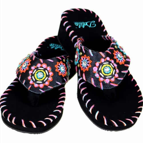 2eb7bb11abdab1 64.90  Watch now - http   viexw.justgood.pw vig item.php t nnke0m20197 -  Montana West Flip Flops Delila Leather Embroidered Beads Sunflower Black  Sandals