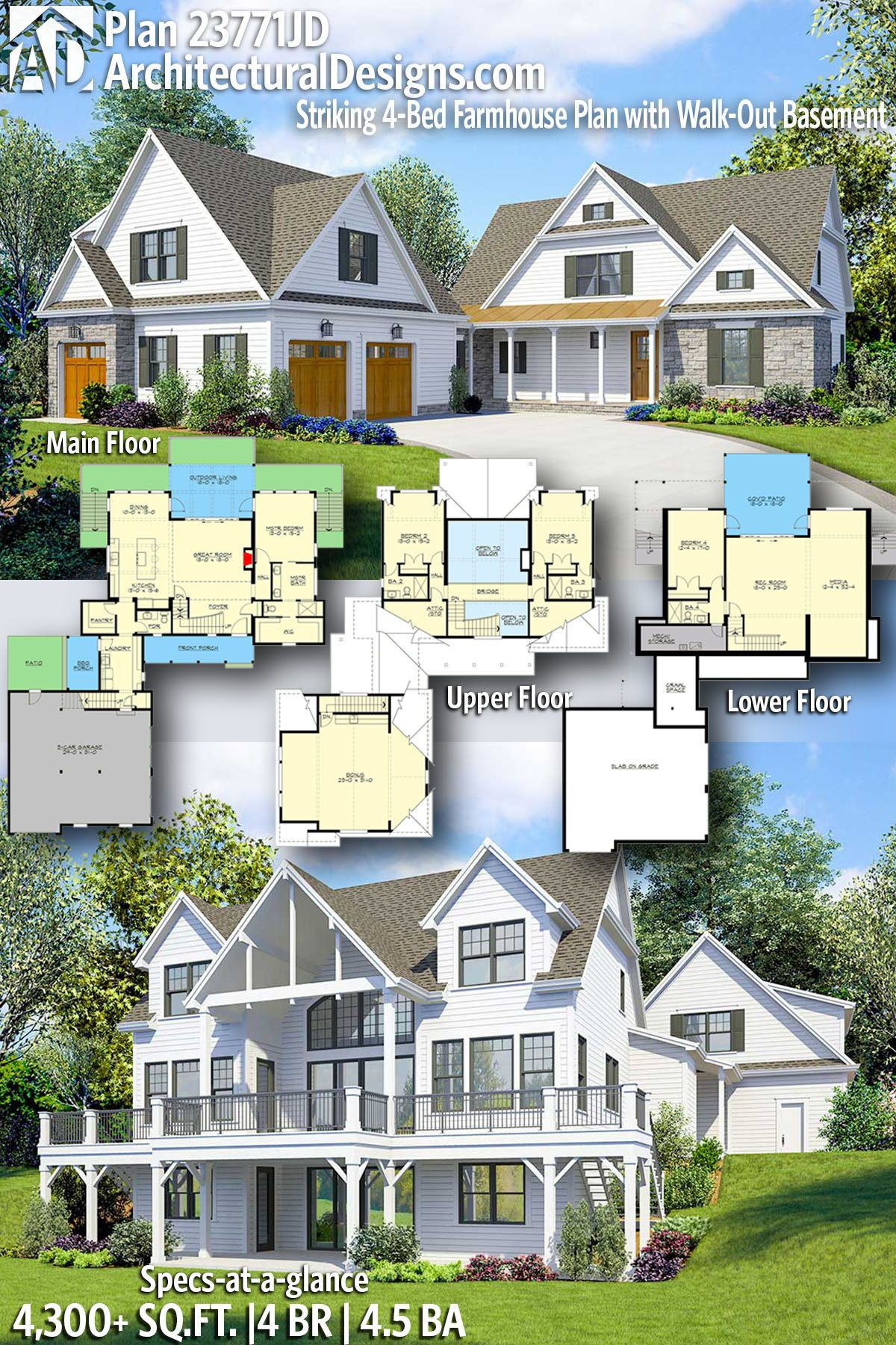Plan 23771jd Striking 4 Bed Farmhouse Plan With Walk Out Basement Farmhouse Plans House Plans Farmhouse New House Plans