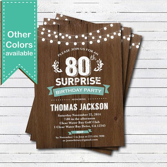 Surprise 80th Birthday Invitation Man Woman Rustic By CrazyLime