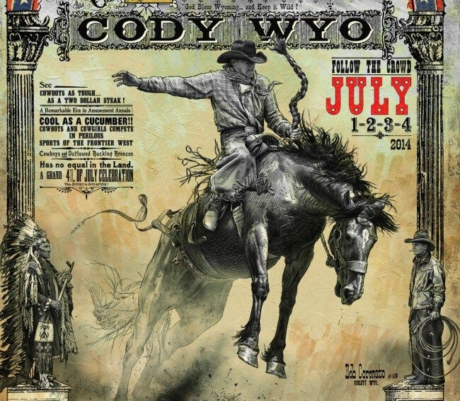 Cody Wyoming Rodeo Poster Close Up Of Bucking Horse