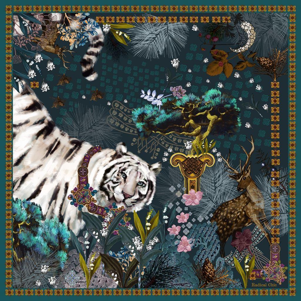 White Siberian Tiger Shawl by Radical Chic