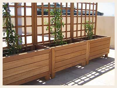 raised planter beds for utility easement along fences Outside