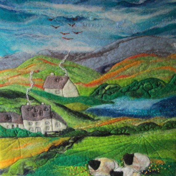 felt landscape sheep in buttercup fields by SueForeyfibreart, £65.00