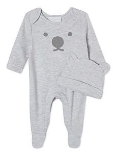 8ce59e83144c THE LITTLE WHITE COMPANY Bear cotton baby-grow   hat set Newborn-24 months