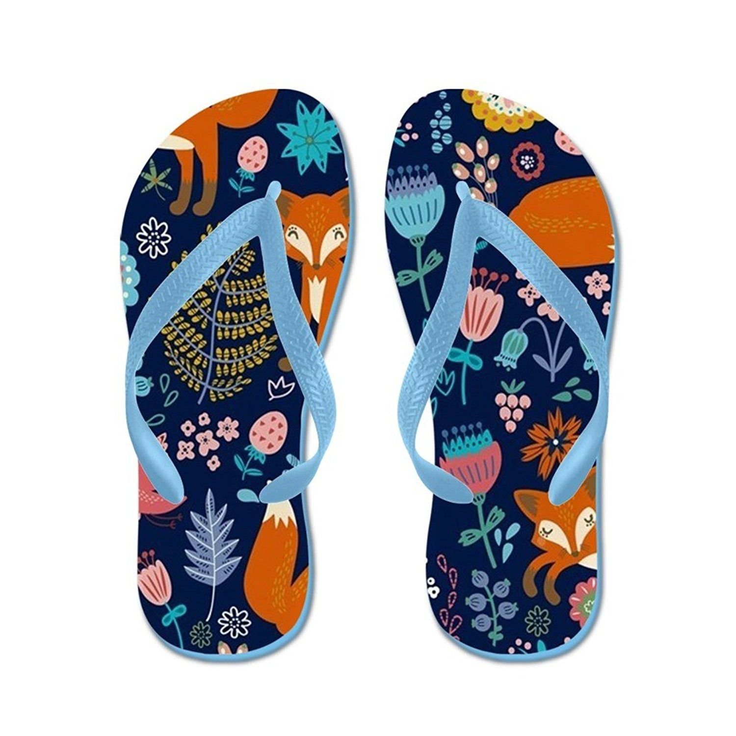 Lplpol Floral Cute Fox Pattern Flip Flops for Kids and Adult Unisex Beach Sandals Pool Shoes Party Slippers ** Want additional info? Click on the image.