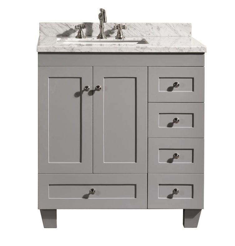 Accanto Contemporary 30 Inch Grey Finish Bathroom Vanity Marble Interesting Bathroom Vanity 30 Inch Design Decoration
