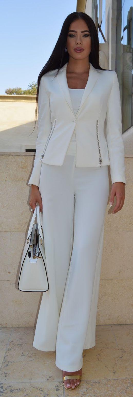 White palazzo outfit idea business style pinterest palazzo