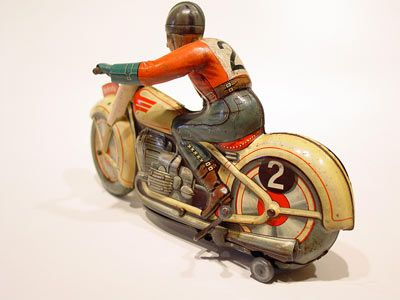 Technofix Co Tin Litho Trick Motorcycle Wind Up Toy 1950s Biker