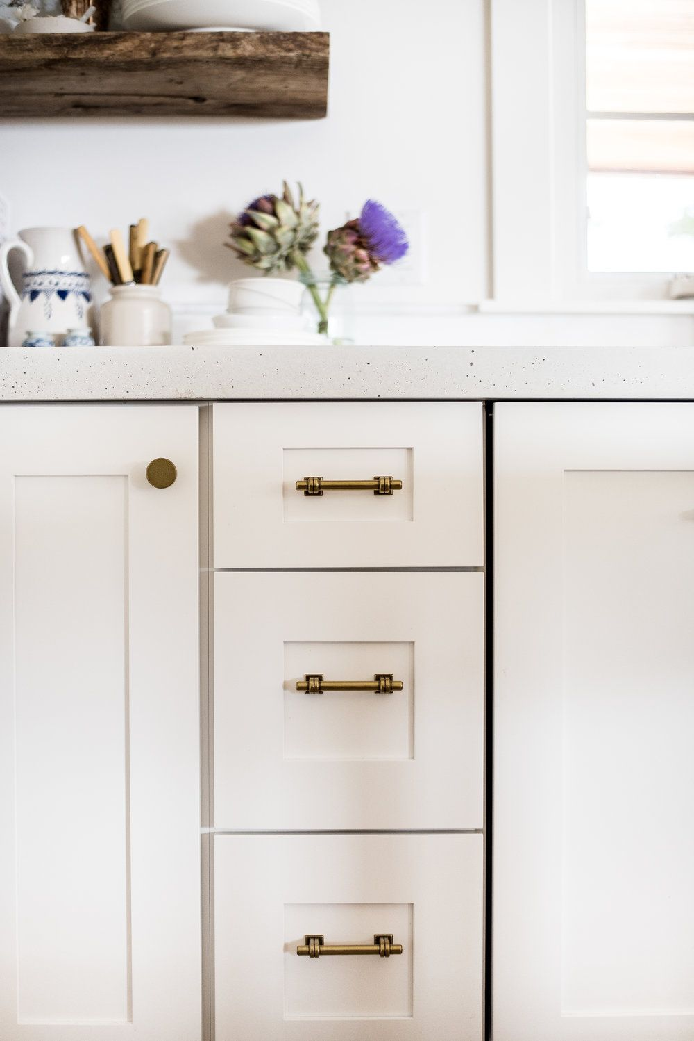 Classic Brass Drawer Pulls In White Farmhouse Kitchen Boxwoodavenue Com Cabinet Hardware Drawer Hardware Brass Cabinet Hardware