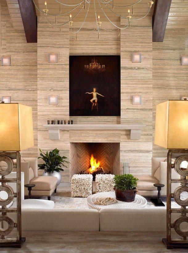 Amazing Architecture, Scandinavian Living Room With Fireplace And Wood Laminate  Wall Covering Interior Decorating Ideas With Small Round Table And Light  Brown Sofa: ...