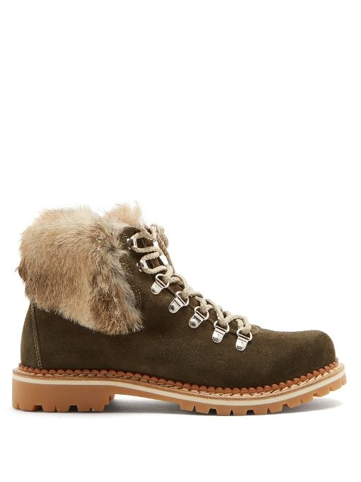 Fur-Trimmed Suede Lace-Up BootsMontelliana nPWck