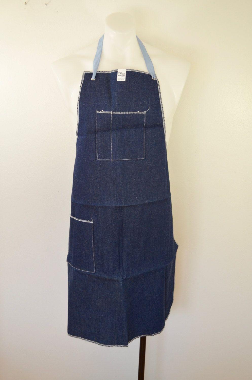 Vintage Ansell Edmont DENIM Work Apron INDUSTRIAL Work Wear indigo 2 pocket usa by ilovevintagestuff on Etsy