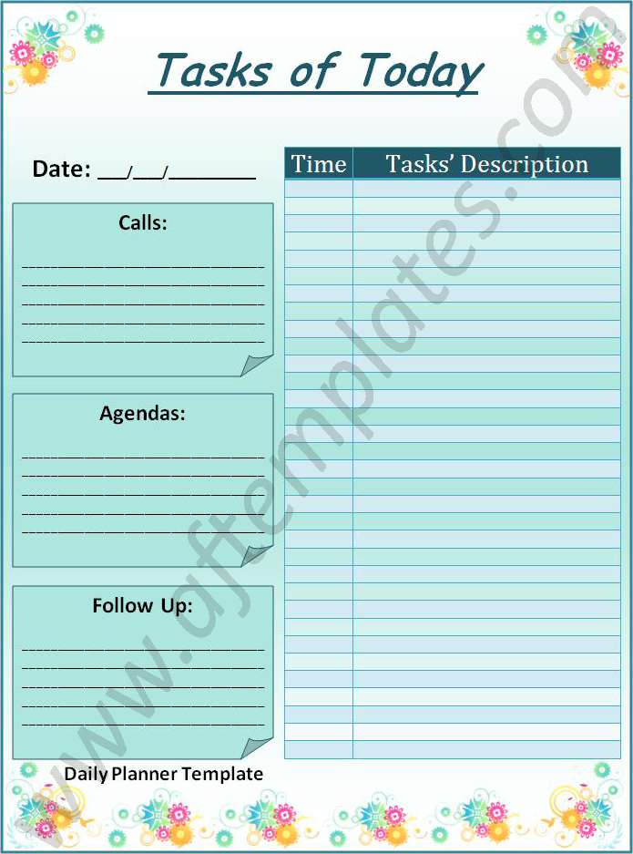 Daily Planner Templates 21 Free Printable Word Excel Pdf
