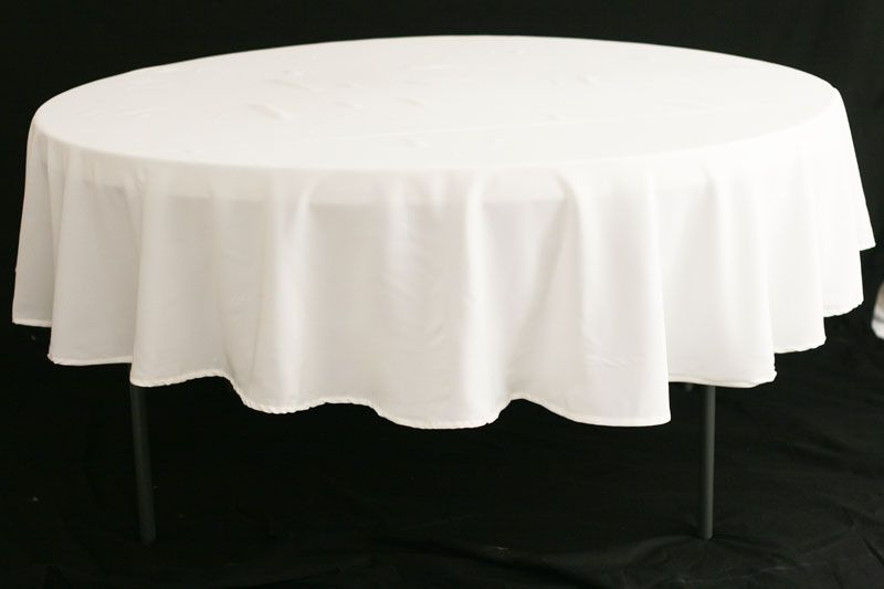 Marvelous Polyester 90 Inch Round Tablecloth White At CV Linens