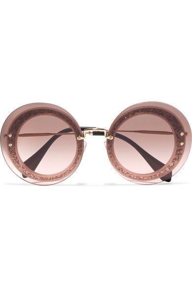 MIU MIU Round-Frame Glittered Acetate And Gold-Tone Sunglasses.  miumiu   sunglasses 0b4ec07bb267