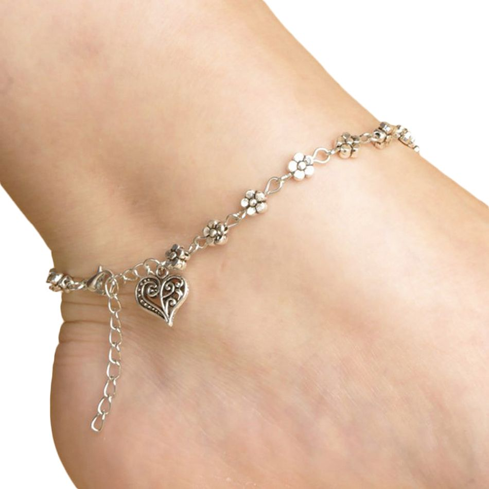 Fashion antique silver metal flower and heart charm anklet for women