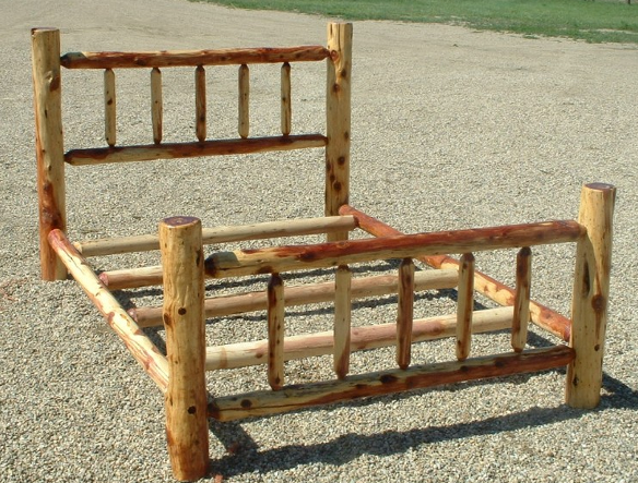 Log bed frame plans how to build a log bed a log bed is a for Log cabin style bunk beds