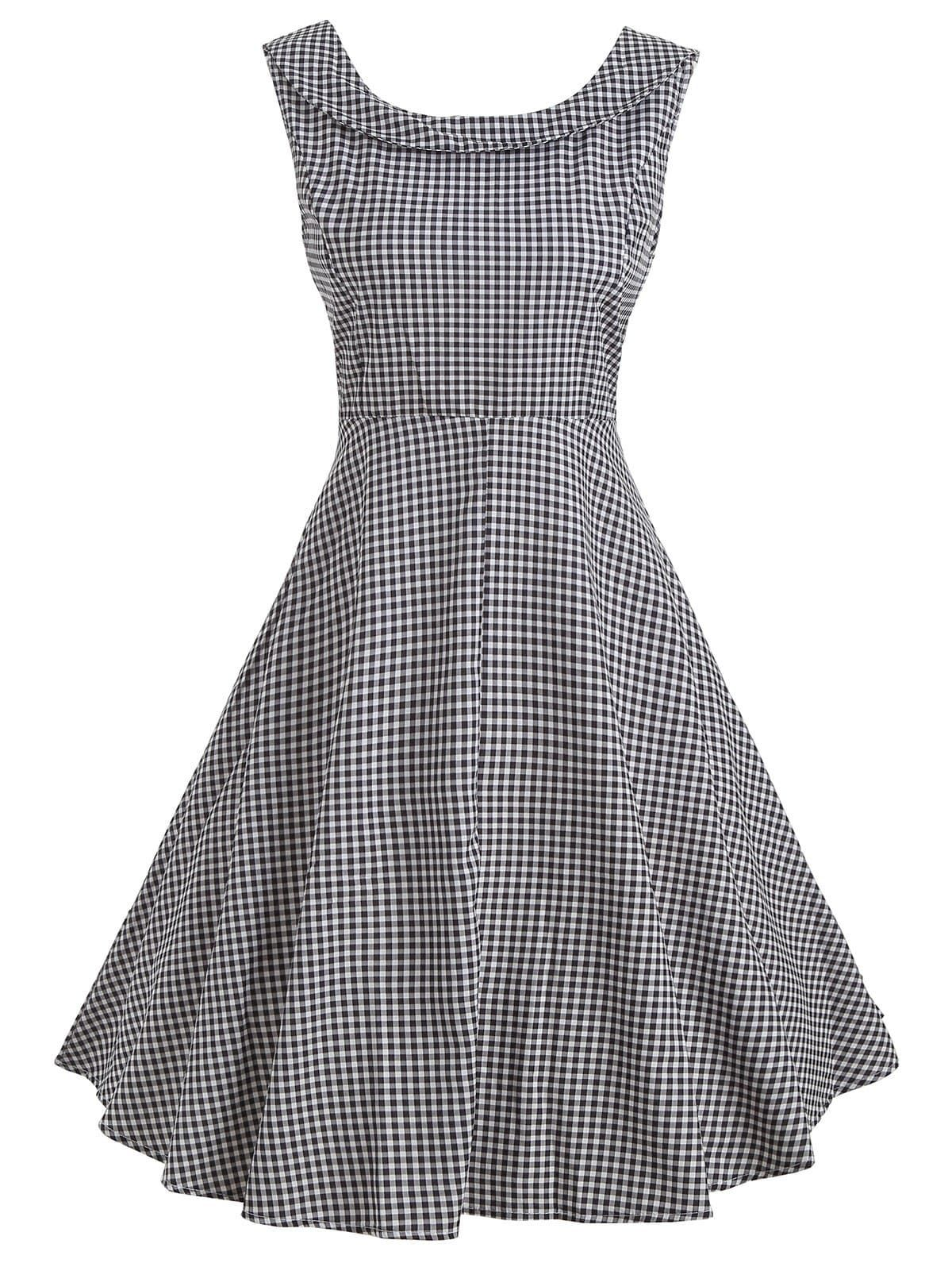 Sleeveless Knee Length Vintage Checked Dress Dresses Retro Dress Vintage Dresses Cheap