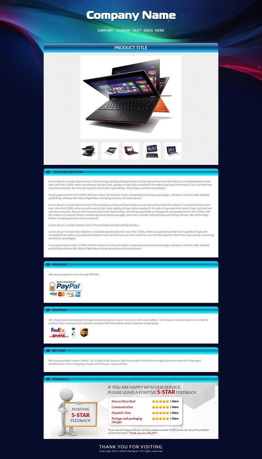 EBay Auction Listing Template For Laptop Mobile Listings HTML - Ebay product listing template