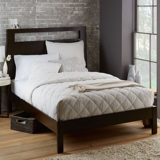 Tall Wood Cut Out Headboard + Simple Bed Frame - King, Chocolate ...
