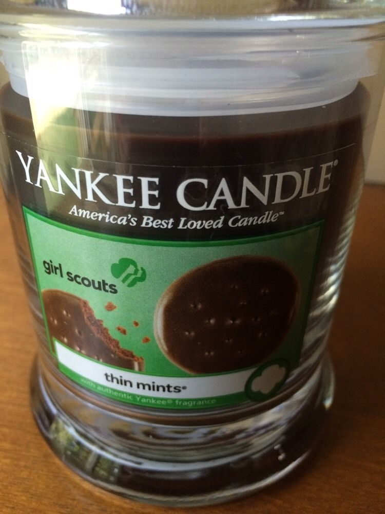 Yankee Candle Girl Scout Cookie Thin Mints Small Tumbler 8 OZ New Glass Wick Jar #YankeeCandle