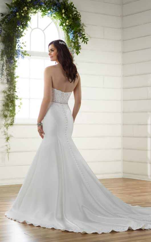 Classic Trumpet Wedding Dress with Sheer Embroidered Bodice