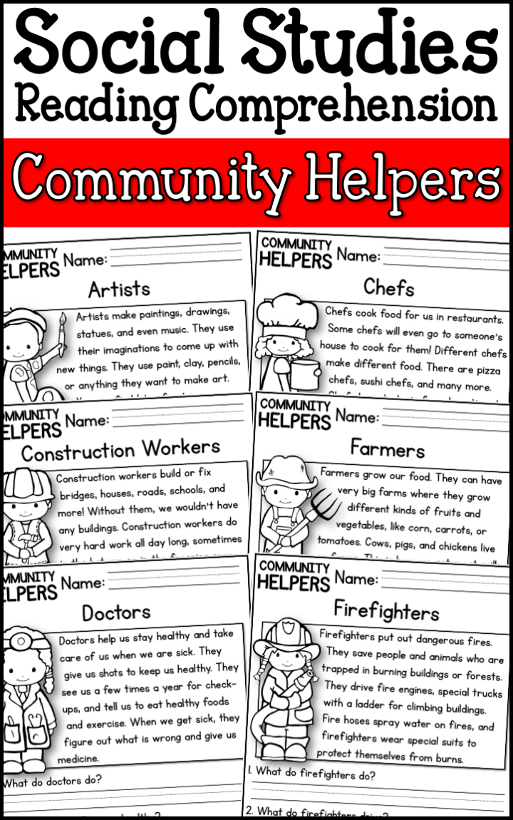 Are You Looking To Integrate Social Studies Into Your Reading Curriculum This Resou Reading Comprehension Passages Community Helpers Homeschool Social Studies [ 1150 x 720 Pixel ]