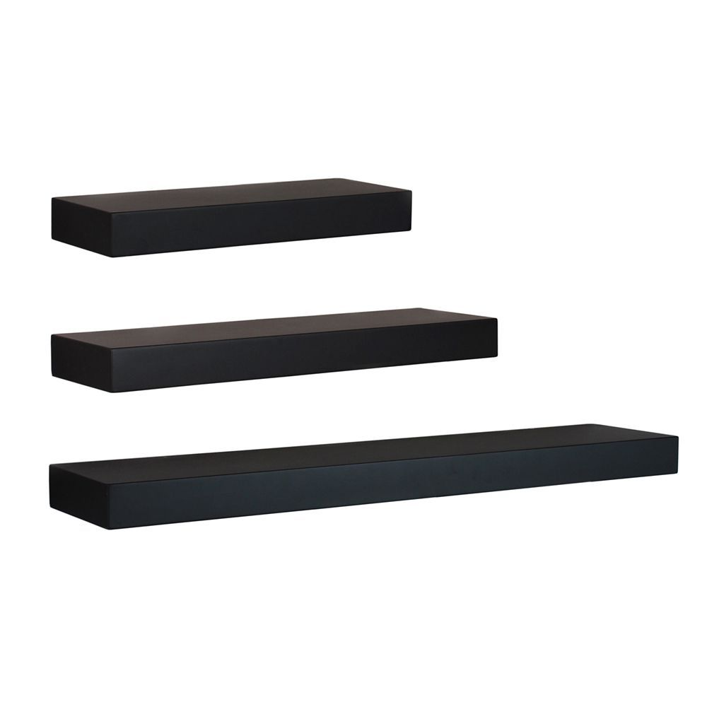 Maine Wall Shelf 12 Inch 16 Inch 24 Inch Black Set Of 3 In 2020 Grey Floating Shelves Ikea Floating Shelves Wooden Floating Shelves