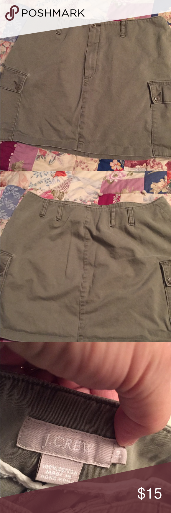 J.Crew mini skirt JCrew 100%cotton blue jean style mini skirt in taupe color with two cargo pockets and belt loops Zipper and button closure Like New condition size 14. Team up with blouse or tshirt  Waist is 34 Length of skirt 16 J. Crew Skirts Mini