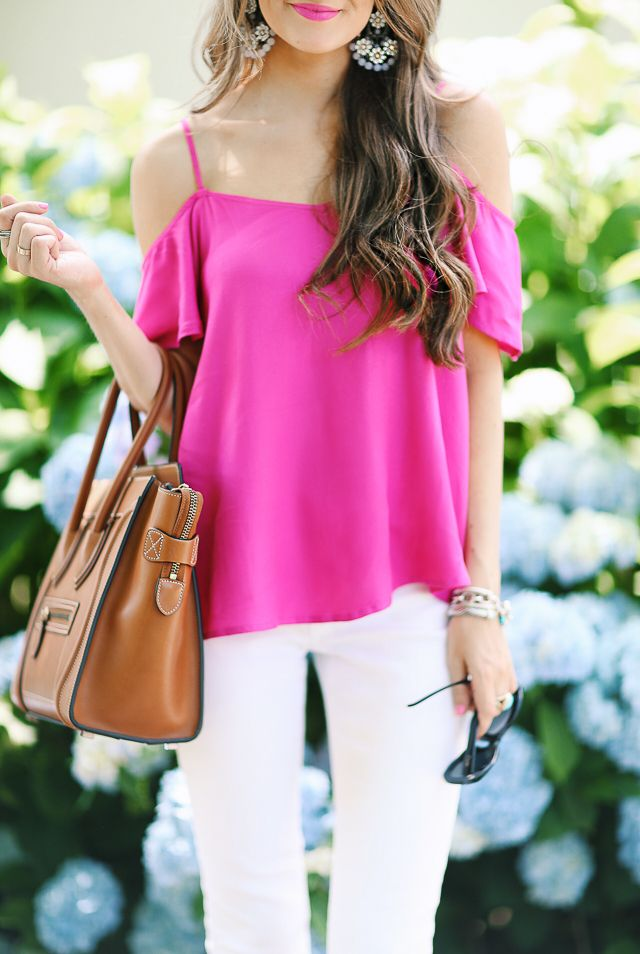 47ba2fe5f76e78 Hot Pink Cold Shoulder Top (for  38!)