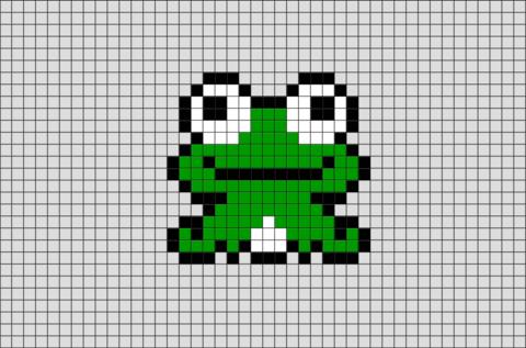 Frog Pixel Art Dessin Quadrillage Modele Pixel Art Point De Croix