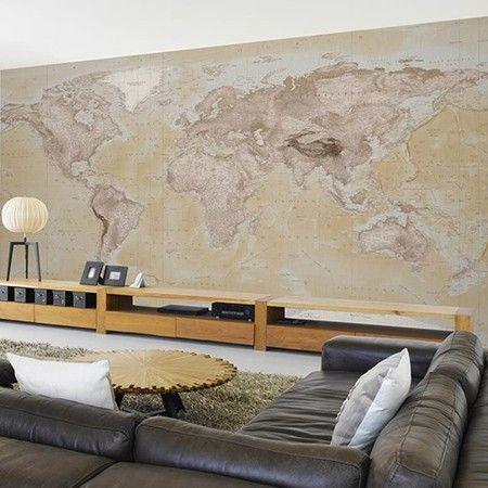 Landkaart behang voor ons huisje pinterest wereldkaart fotobehang en vintage - Behang voor restaurant ...