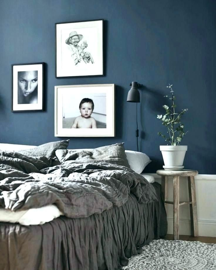 Dunkelgraue Schlafzimmer Wände #schwarzesbett #modern