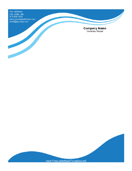 Captivating Free Letterhead Templates Business Letterhead With Blue Waves Throughout Free Company Letterhead